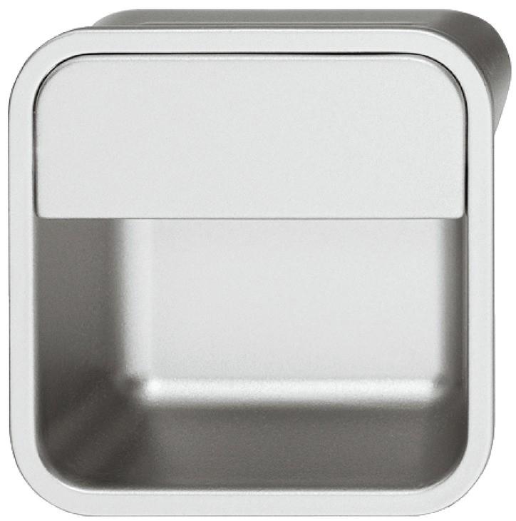 Image of   Firkantet aluminiumfarvet skålegreb i zinklegering