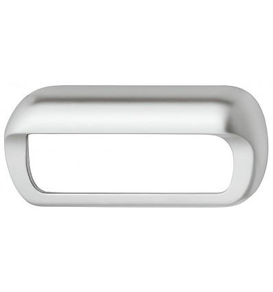 Oval formet skålegreb i forkromet mat zinklegering med åbent bagtil