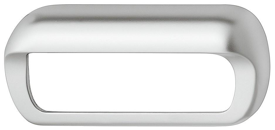 Billede af Oval formet skålegreb i forkromet mat zinklegering med åbent bagtil