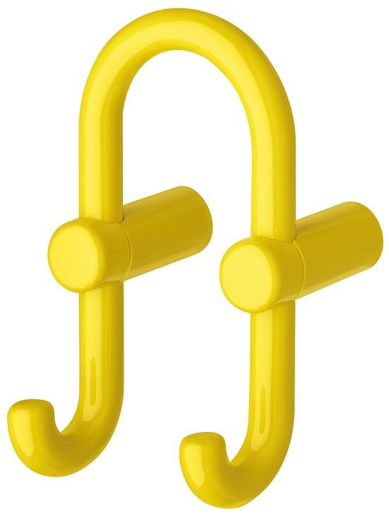 Image of   U-formet garderobekrog med 2 kroge i sennepsgul kunststof