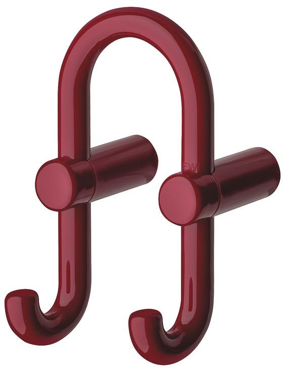 Billede af U-formet garderobekrog med 2 kroge i rubinrød kunststof