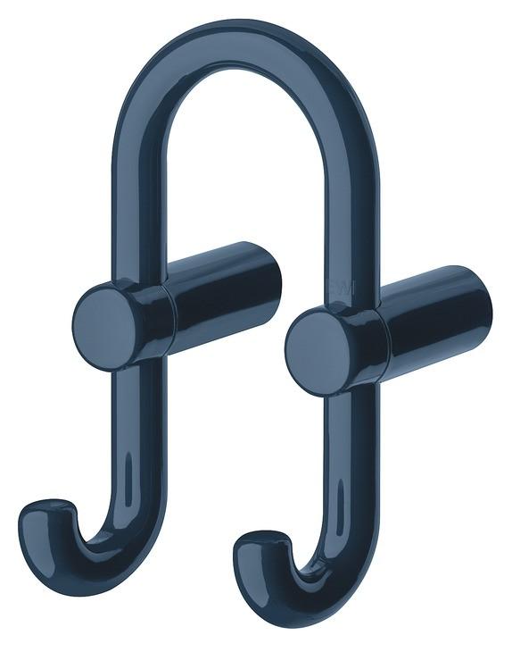 Billede af U-formet garderobekrog med 2 kroge i stålblå kunststof
