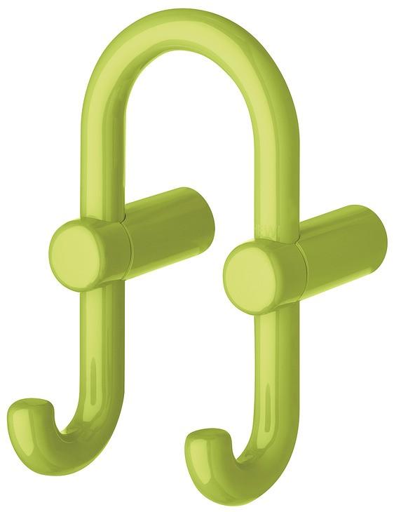 Image of   U-formet garderobekrog med 2 kroge i æblegrøn kunststof