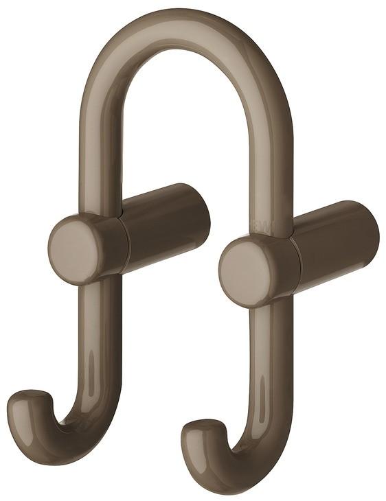 Billede af U-formet garderobekrog med 2 kroge i umbra kunststof