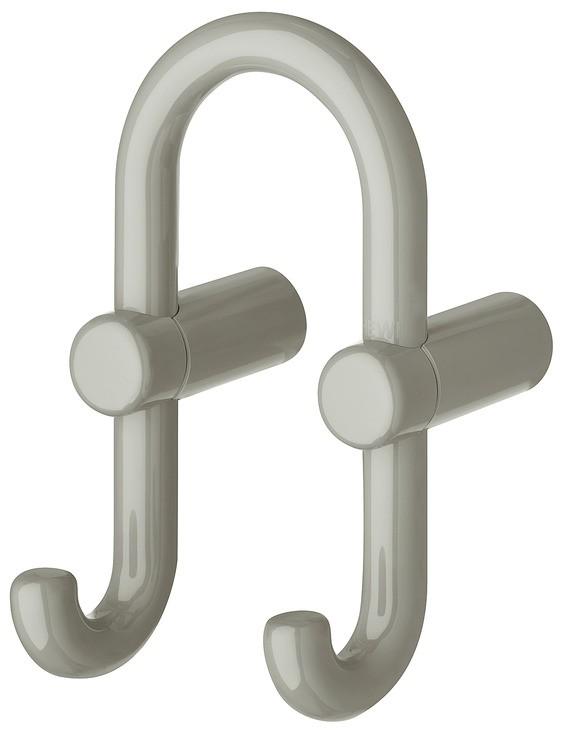 Image of   U-formet garderobekrog med 2 kroge i klippegrå kunststof
