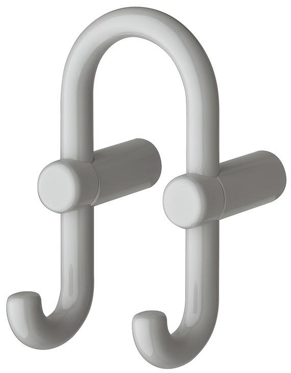Image of   U-formet garderobekrog med 2 kroge i lysegrå kunststof