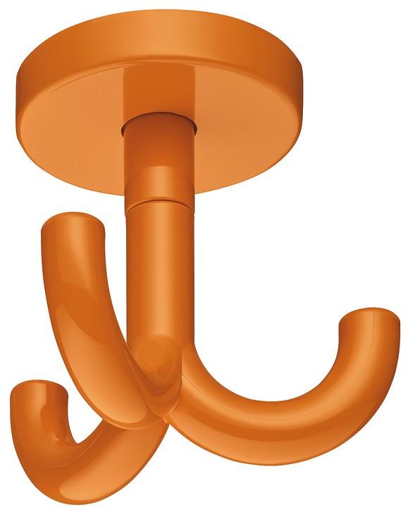 Image of   Drejelig loftkrog med 3 kroge i orangel kunststof