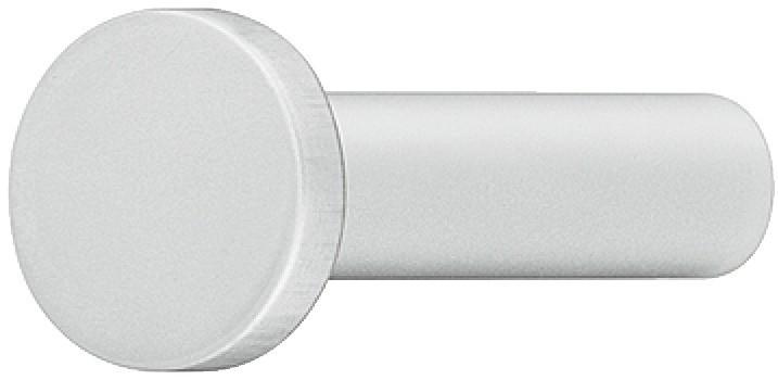 Image of   Garderobekrog med rund ende i sølvfarvet eloxeret aluminium