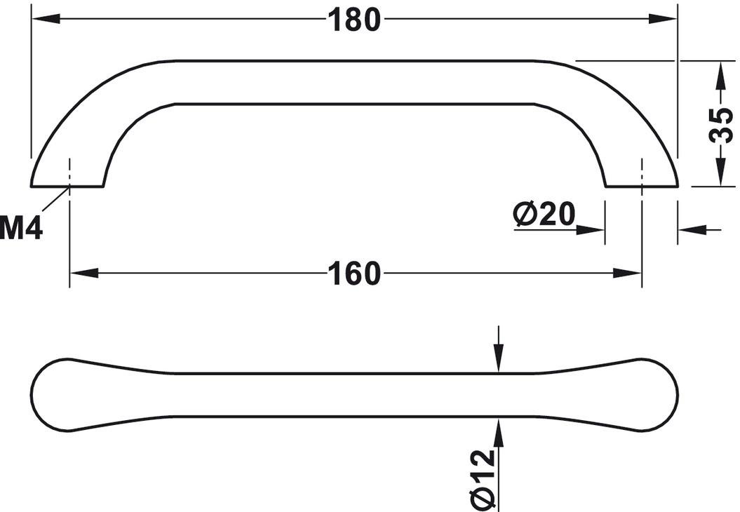 Image of   Sort mat greb i zinklegering med en blød buet form - model H1730