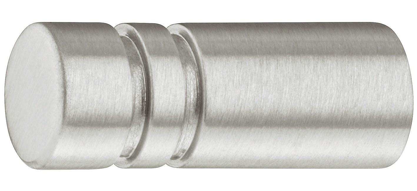 Image of   Lille mat børstet knopgreb i rustfri stål, 2 fordybninger, Ø8 mm
