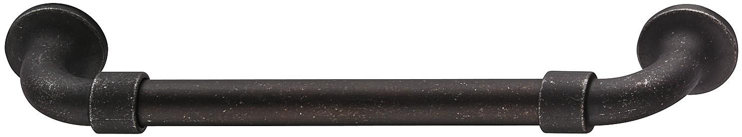 Image of   Bøjlegreb med runde sokler og to ringe i sort mat zinklegering - brugt look
