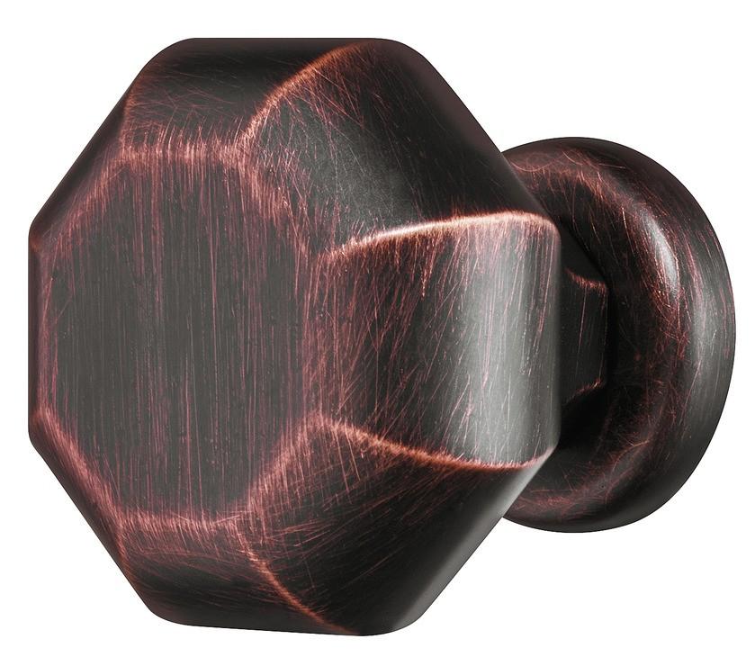 Image of   Bronzefarvet ottekantet knopgreb i olieret børstet zinklegering