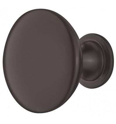 Traditionelt bronzefarvet rund knopgreb i olieret mørk zinklegering