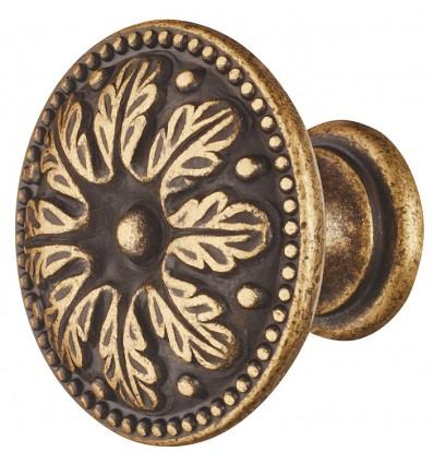 Traditionelt brun rund knopgreb med blade i antik zinklegering