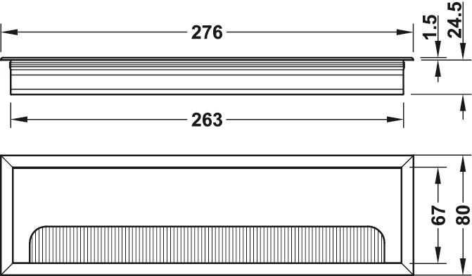 Kabelgennemføring, Firkantet, Aluminium 276x80