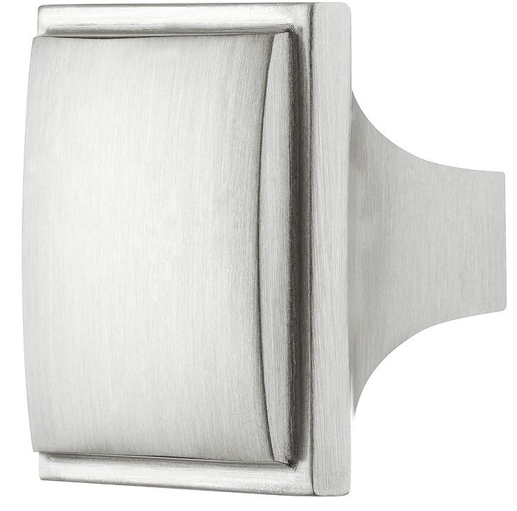 Image of   Traditionel firkantet møbelknopgreb i stålfarvet messing
