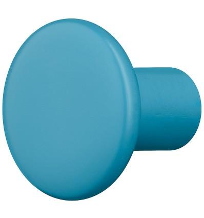 Trendy lille møbelknopgreb i turkisblå træ, Ø30 mm