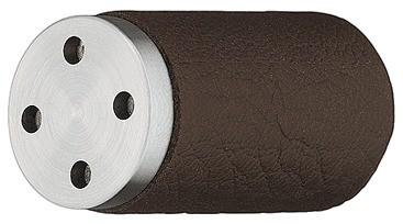 Image of   Knopgreb, brunt læder, rustfri stål, Ø15 mm