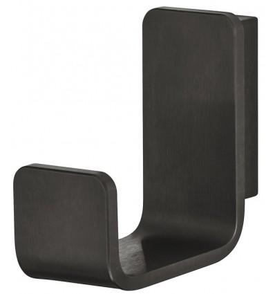 Klassisk j-formet garderobekrog i børstet sort rustfrit stål