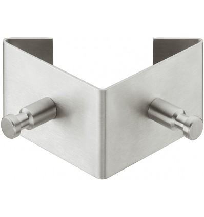 Garderobekrog i triangulær form med to kroge, mat børstet rustfrit stål