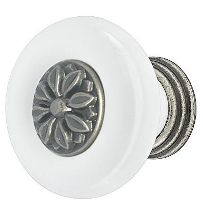 Knopgreb, Hvid porcelæn, antik, Ø30-37mm