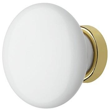 Knopgreb, Hvid porcelæn, guldfarvet, Ø30-37mm