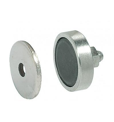 Rund stål magnetlås til metalskabe - holdestyrke 3,0 kg