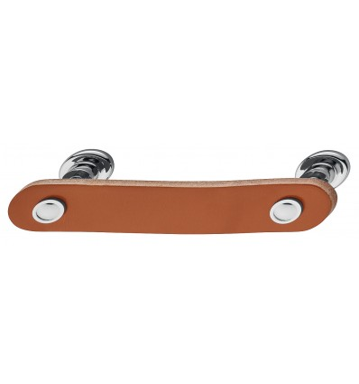 Trendy gribeliste i brun læder og forkrom poleret stål