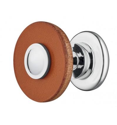 Designet knopgreb i brun læder og sokkel i forkrom poleret stål