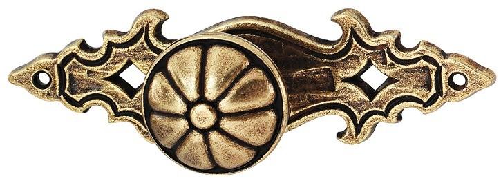 Image of   Knopgreb, brun antik, på dekorativ bagplade