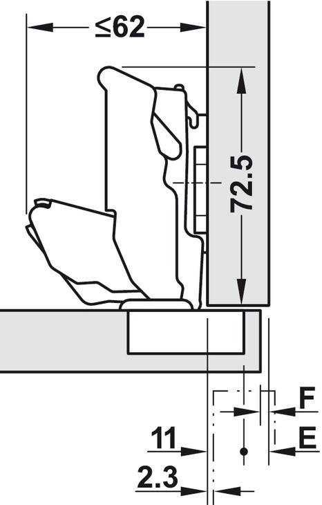 Blum Clip Top Blumotion hængsel - 155º - Sort