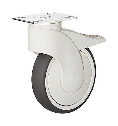 Møbelhjul, monteringsplade,  letløbende, bremse, 110 kg