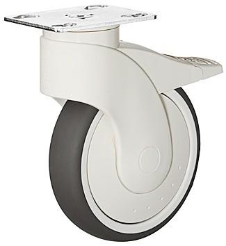 Image of   Møbelhjul, monteringsplade, letløbende, bremse, 110 kg