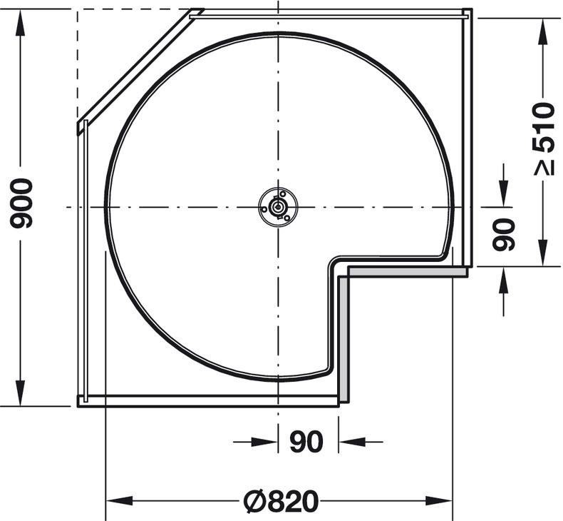 Trekvartcirkel-drejebeslag med drejehylder - Classic