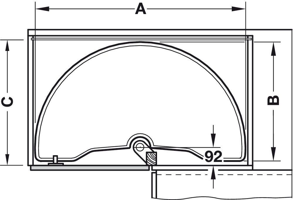 Halvcirkel-drejebeslag med drejehylder - Classic