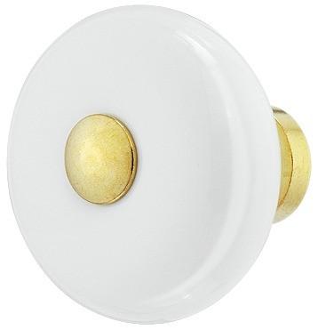 Knopgreb, Hvid porcelæn, messing center, Ø32 mm